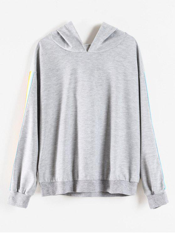 ff3ddead31e 55% OFF  2019 Rainbow Stripe Plus Size Hoodie In LIGHT GRAY