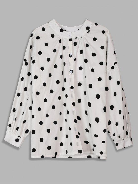 online Gathered Round Neck Polka Dot Shirt - WHITE M