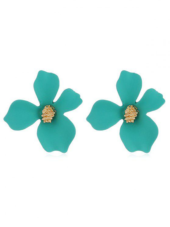 online Floral Shape Design Stud Earrings - GREENISH BLUE