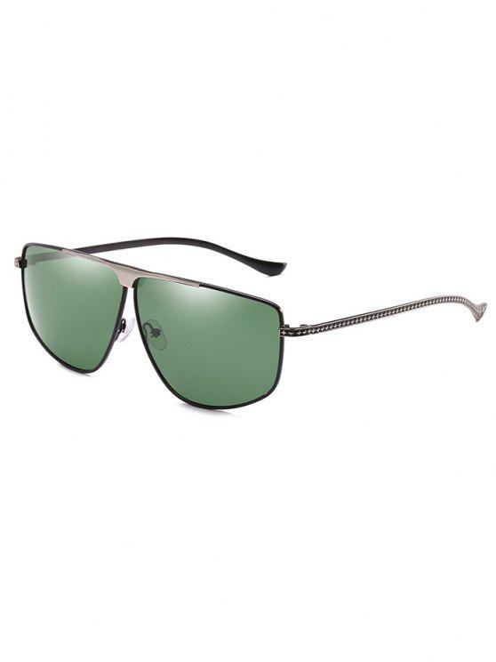 affordable Unique Metal Frame Pilot Sunglasses - DARK GREEN