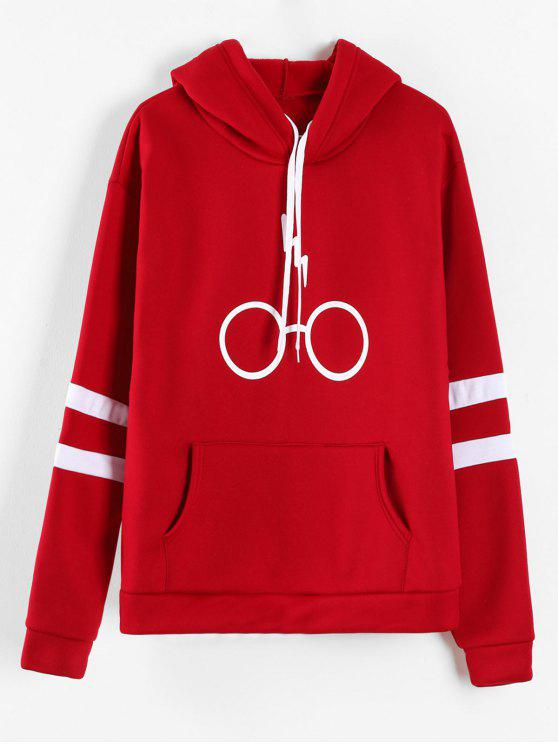 new Graphic Pouch Pocket Fleece Hoodie - RED S
