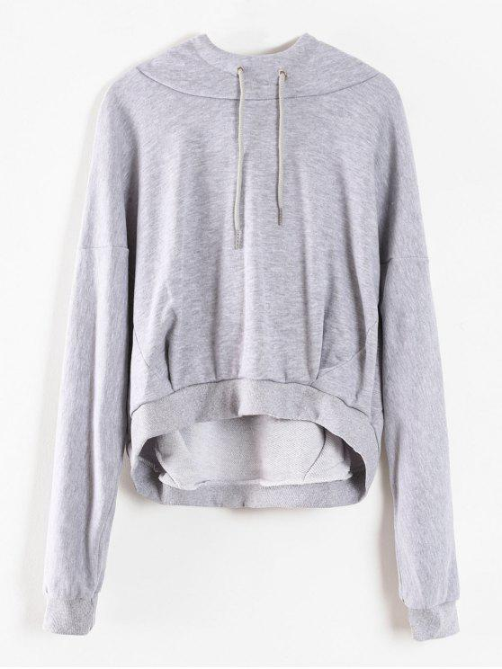 trendy Cropped Oversized Terry Hoodie - LIGHT GRAY S