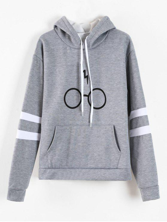 affordable Graphic Pouch Pocket Fleece Hoodie - GRAY XL