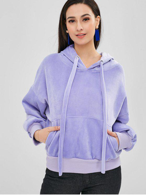 outfits Velvet Drop Shoulder Hoodie - LAVENDER BLUE M