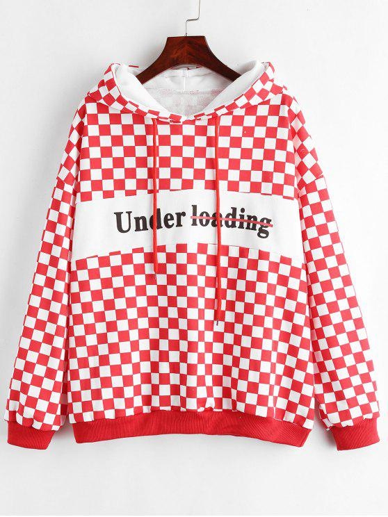 fashion Checkerboard Print Oversized Hoodie - MULTI ONE SIZE