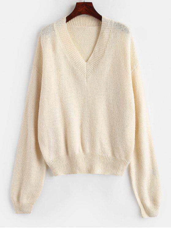 latest V Neck Oversized Sweater - WARM WHITE ONE SIZE