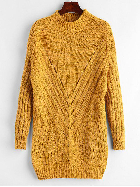 womens Ribbed Mixed Yarn Long Sweater - MUSTARD ONE SIZE
