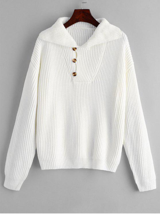 Pull Boutonné à Collier - Blanc Taille Unique