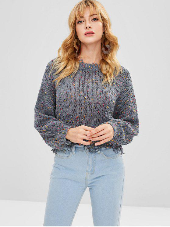 trendy Distressed Drop Shoulder Sweater - GRAY ONE SIZE