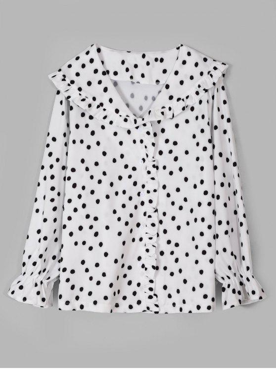 womens Frilled Polka Dot Shirt - WHITE M