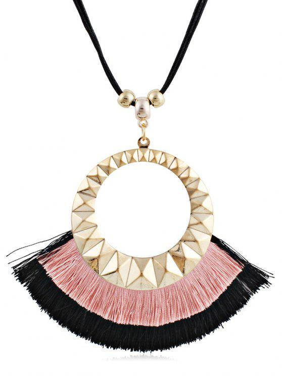 shop Tassel Round Design Decorative Sweater Necklace - PINK