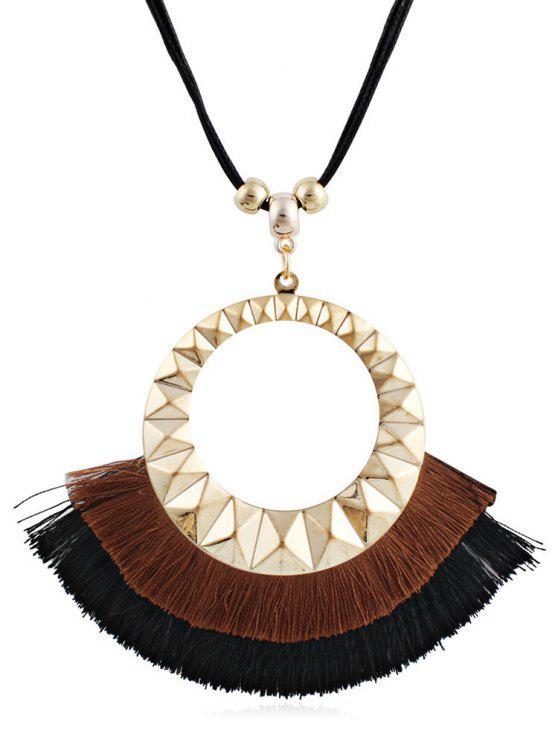 chic Tassel Round Design Decorative Sweater Necklace - BROWN