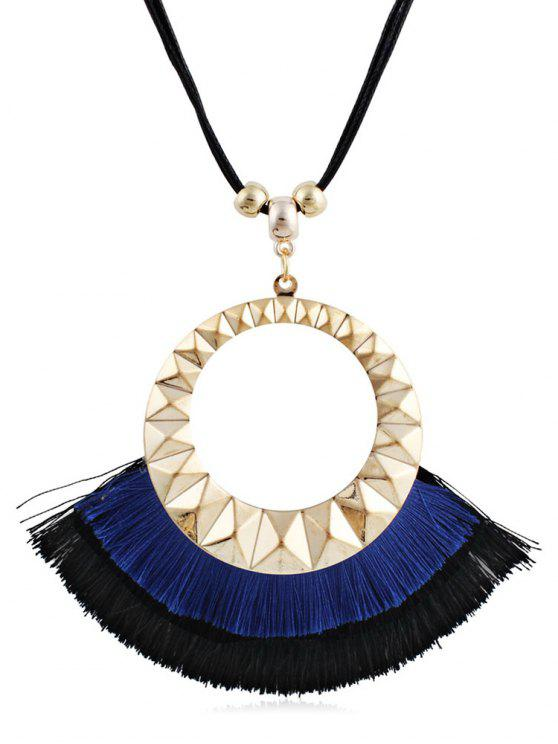 fancy Tassel Round Design Decorative Sweater Necklace - BLUE