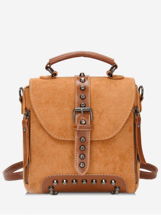 Mini mochila escolar de remache con hebilla - Marrón