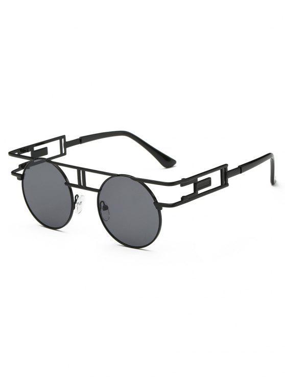 Occhiali Da Sole Anti-Fatica Con Montatura Irregolare In Metallo - Nero