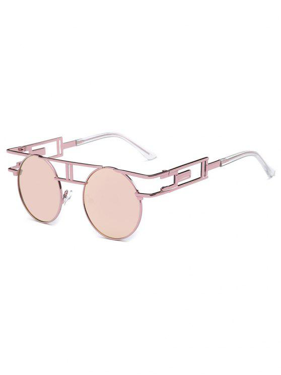 women's Anti Fatigue Irregular Metal Frame Novelty Sunglasses - LIGHT PINK