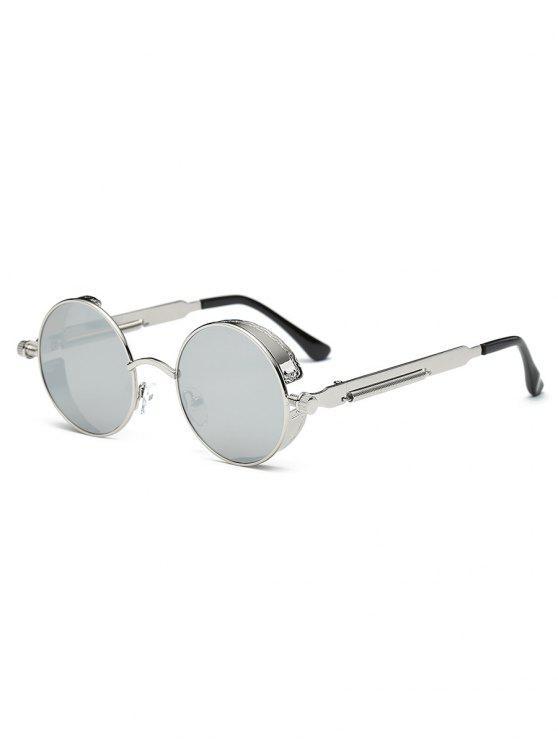 Occhiali Da Sole Rotondi Con Lenti Piatte In Metallo - Argento