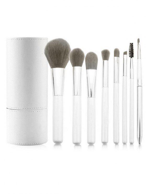 shop 8 Pcs Synthetic Fiber Hair Cosmetic Brush Suit and Makeup Brush Cylinder - WHITE