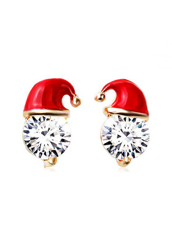 shops Christmas Hat Faux Crystal Stud Earrings - RED