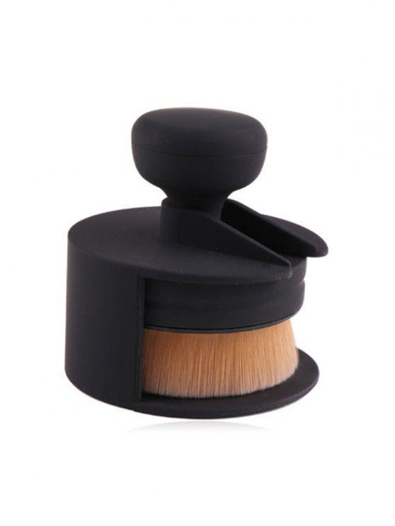 Pinceau de Maquillage en Fibre Synthétique Cosmétique avec Couverture - Noir