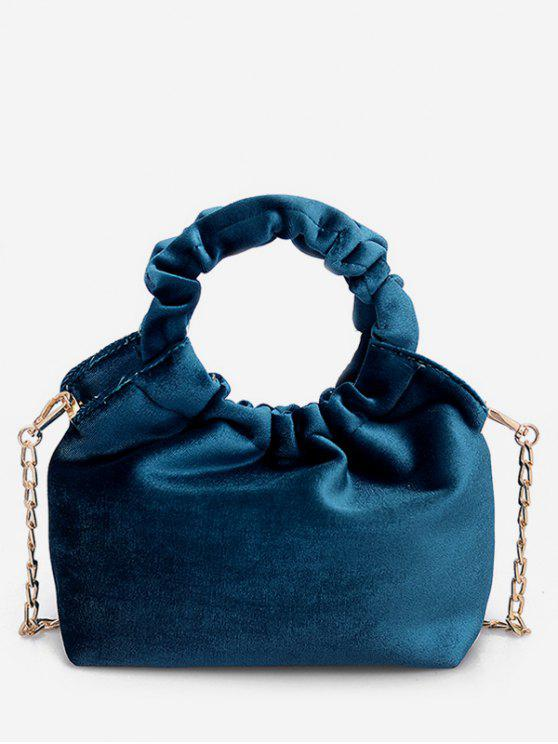 sale Solid Round Shape Handle Handbag - BLUE IVY