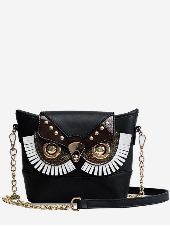 women's PU Leather Owl Shape Crossbody Bag - BLACK