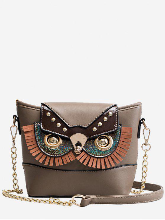 lady PU Leather Owl Shape Crossbody Bag - BROWN