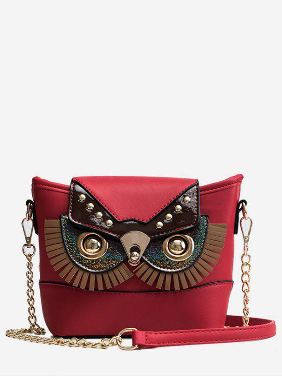 best PU Leather Owl Shape Crossbody Bag - RED DIRT