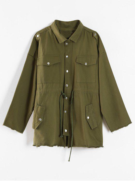 fancy Drawstring Twill Safari Jacket - ARMY GREEN L