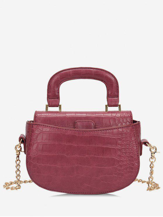 Mini Top Handle Cadeia Crossbody Bag - Vinho Tinto