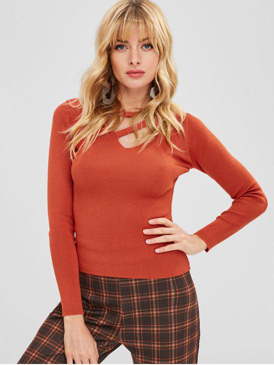 outfit Cut Out Grommet Knitwear - ORANGE ONE SIZE
