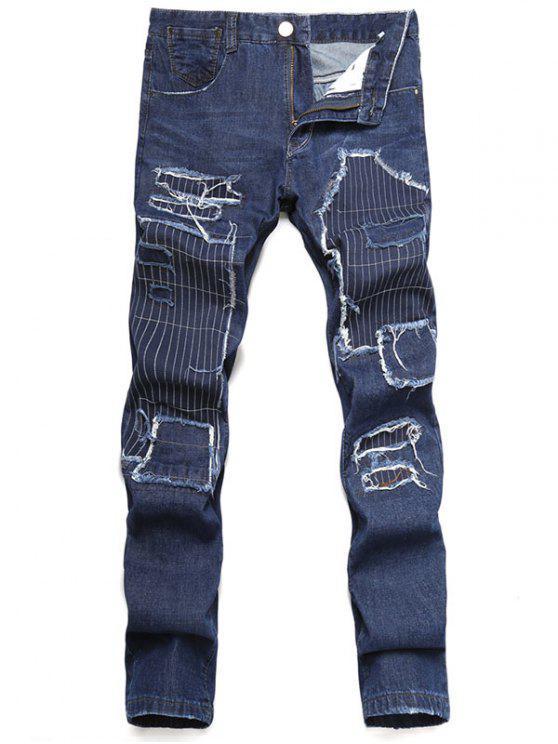 shop Zip Fly Straight Leg Distressed Jeans - DARK SLATE BLUE 34