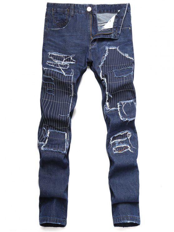 fashion Zip Fly Straight Leg Distressed Jeans - DARK SLATE BLUE 42