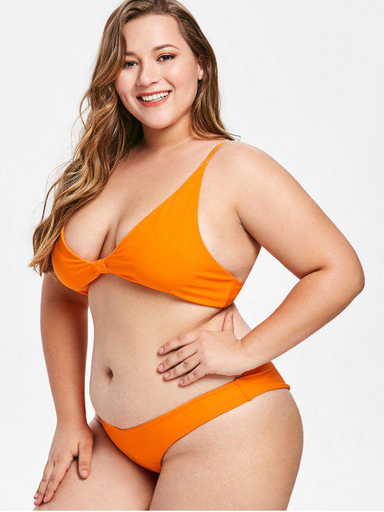 ladies ZAFUL Cami High Leg Plus Size Bikini Set - ORANGE 2X