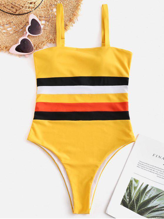 Costume Da Bagno A Righe Colorate Con Taglio Alto Di ZAFUL - Giallo Rubber Ducky L