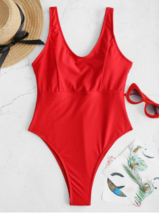 latest ZAFUL High Cut One-piece Swimsuit - LAVA RED M