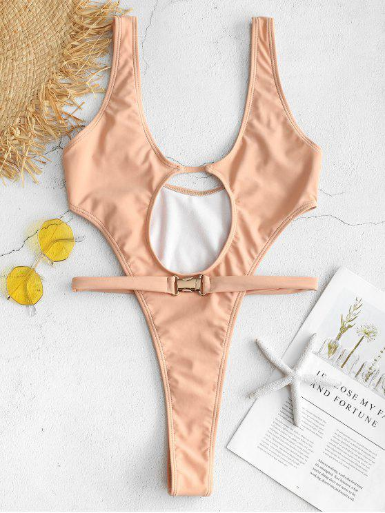ZAFUL Gurt Badeanzug mit Ausschnitt - Orange Rosa S