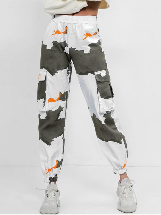 ladies Mid Waist Printed Jogger Pants - MULTI M