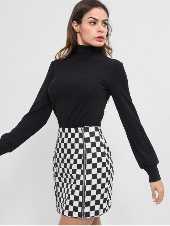 ladies Zippers Mini Checkered Skirt - WHITE M
