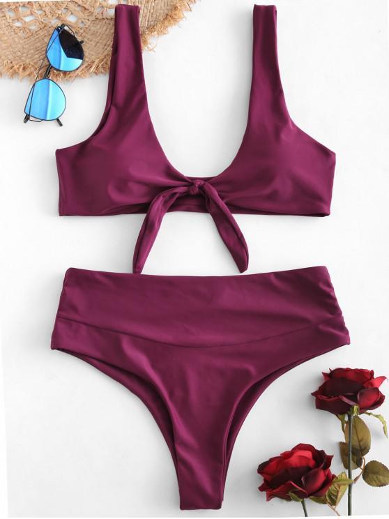fashion ZAFUL High Waisted Knot Bikini Set - MAROON L