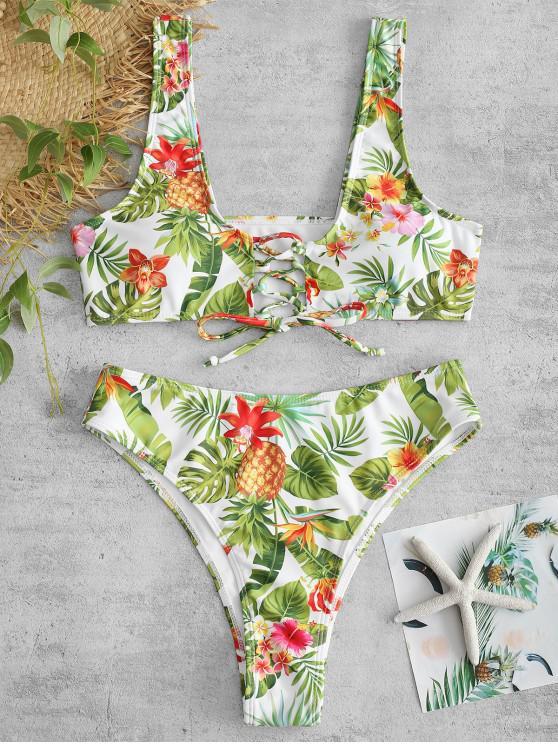 sale ZAFUL Pineapple Flower Lace Up Bikini Set - WHITE L