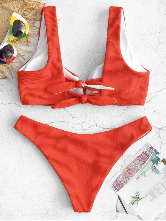 women's ZAFUL Back Knot Tank Bikini Set - LAVA RED S