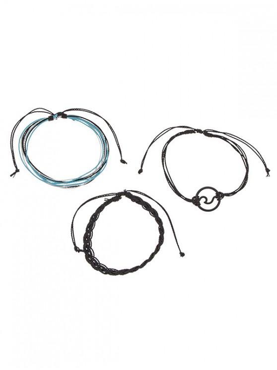 unique Sea Waves Decorative Adjustable Woven Bracelets Set - BLACK