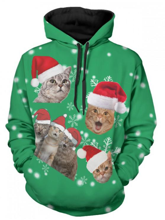 affordable Christmas Cats Print Long Sleeve Hoodie - GREEN 2XL