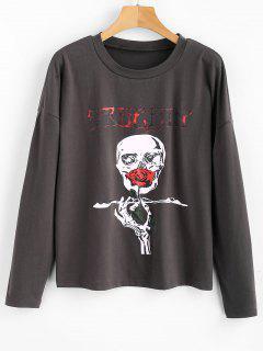 Skull Graphic Hallowmas T-shirt - Carbon Gray M