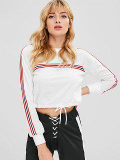 Striped Patched Drawstring Waist Sweatshirt - White M