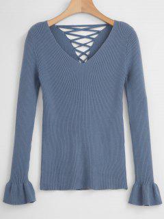 Schnür-Sweater Mit Schnürung - Schiefer Blau