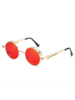 Metal Frame Flat Lens Round Sunglasses - Red