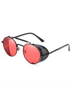 Stylish Crossbar Metal Frame Round Sunglasses - Watermelon Pink