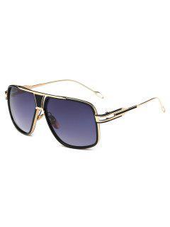 Metal Full Frame Crossbar Sunglasses - Blue Gray